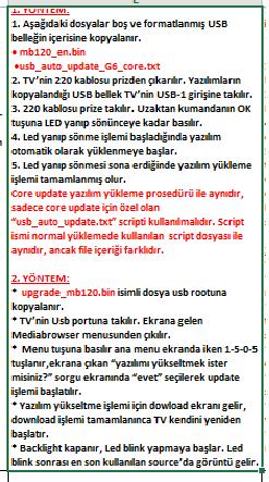 Core-Software-Update-3 VESTEL, 17MB120, YAZILIM, YÜKLEME, TALİMATI, MAİNBOARD, ANAKART, ŞASE