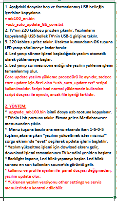 Core-Software-Update-4 VESTEL, 17MB100, YAZILIM, YÜKLEME, TALİMATI, MAİNBOARD, ANAKART, ŞASE