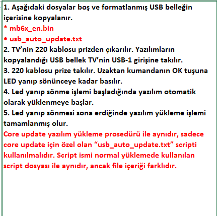 Core-Software-Update-8 VESTEL, 17MB6X, YAZILIM, YÜKLEME, TALİMATI, MAİNBOARD, ANAKART, ŞASE