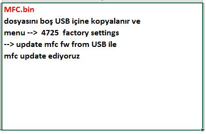 MFC-Firmware-Yukleme VESTEL, 17MB300, YAZILIM, YÜKLEME, TALİMATI, MAİNBOARD, ANAKART, ŞASE